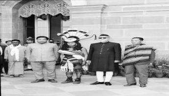 President Dr. Zakir Husain with The Tribal Chiefs, participants of Republic Day Parade, at Rashtrapati Bhavan.
